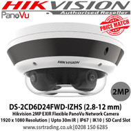 Hikvision DS-2CD6D24FWD-IZHS 2 MP EXIR Flexible PanoVu Network camera with 2.8 - 12mm varifocal lens, Up to 10 to 30m IR distance, H.265+ compression, Audio line in & alarm I/O, IP67 weatherproof, Vandal resistant up to IK10