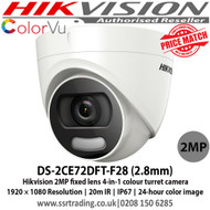 Hikvision 2MP fixed lens colour turret camera with 2.8mm lens, Up to 20m white light distance, IP67 weatherproof, 24-hour colour image, 130dB wide dynamic range, 4 in 1, can be used as TVI, CVI, AHD or Analogue camera - DS-2CE72DFT-F28
