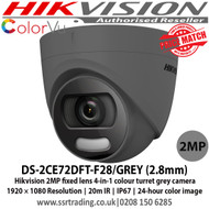 Hikvision 2MP fixed lens colour turret grey camera with 2.8mm lens, Up to 20m white light distance, IP67 weatherproof, 24-hour colour image, 130dB WDR, 4 in 1, can be used as TVI, CVI, AHD or Analogue camera - DS-2CE72DFT-F28/GREY (2.8mm)