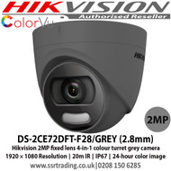 Hikvision DS-2CE72DFT-F28/GREY (2.8mm) 2 MP fixed lens colorVu turret grey camera with 2.8mm lens, Up to 20m white light distance, IP67 weatherproof, 24-hour colour image, 130dB WDR, 4 in 1, can be used as TVI, CVI, AHD or Analogue camera