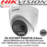 Hikvision DS-2CE72DFT-PIRXOF28 2 MP fixed lens colorVu PIR siren turret camera with 2.8mm fixed lens, Up to 20m white light distance, IP67 weatherproof, PIR detection, Built-in siren, audible alarm, strobe light alarm, 4 in 1camera