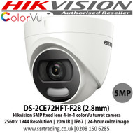 Hikvision DS-2CE72HFT-F28 5 MP fixed lens colorVu turret camera with 2.8mm lens, Up to 20m white light distance, IP67 weatherproof, Full time color, Smart light, 4 in 1, can be used as TVI, CVI, AHD or Analogue camera