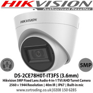Hikvision DS-2CE78H0T-IT3FS 5MP 3.6mm fixed lens 40m IR IP67 Smart IR Audio over coaxial cable, Built-in mic, 4-in-1 video output (switchable TVI/AHD/CVI/CVBS)