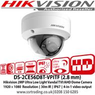 Hikvision 2MP Ultra Low Light Vandal 4-in-1 Dome Camera IP67, IK10, 30m IR, IP67, switchable TVI/AHD/CVI/CVBS - DS-2CE56D8T-VPITF (2.8 mm)