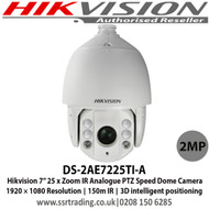 """Hikvision DS-2AE7225TI-A 2MP 7"""" 25 x Zoom IR Analogue PTZ Speed Dome Camera, 1920 × 1080 Resolution, 150m IR, 3D intelligent positioning"""