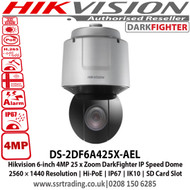 Hikvision 6-inch 4MP 25 x Zoom DarkFighter IP Speed Dome Camera, 2560 × 1440 Resolution, Hi-PoE, IP67, IK10, SD Card Slot - DS-2DF6A425X-AEL