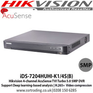 Hikvision iDS-7204HUHI-K1/4S(B) 4-channel AcuSense TVI Turbo 5.0 5MP DVR Support Deep learning-based analysis, H.265+  Video compression