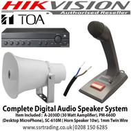 Digital Speaker Audio System Kit Item Included :  A-2030D (30 Watt Aamplifier), PM-660D  (Desktop MicroPhone), SC-610M ( Horn Speaker 10w), 1mm (100m) Twin Wire
