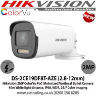 Hikvision 2MP 2.8-12mm Motorized Varifocal Lens PoC ColorVu BulletCamera,  1 HD Analog Output, 40m White Light Distance, IP68 Weatherproof, WDR, 24/7 Full Color Imaging - DS-2CE19DF8T-AZE