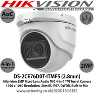 Hikvision 2MP 2.8mm Fixed Lens 4-in-1 AoC Audio Turret CCTV Camera, Switchable TVI/AHD/CVI/CVBS, 30m IR Distance, IP67 Weatherproof, DWDR,  Audio Over Coaxial Cable, Built-in Mic - DS-2CE76D0T-ITMFS (2.8mm)