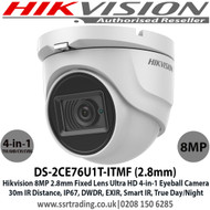 Hikvision 8MP 4K 2.8mm Fixed Lens Eyeball CCTV Camera, 4-in-1 TVI/CVI/AHD/Analogue, 30m IR Distance, IP67 Weatherproof, DWDR, EXIR, Smart IR, True Day/Night - DS-2CE76U1T-ITMF (2.8mm)