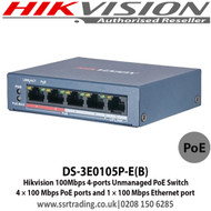 Hikvision 4 Port Fast Ethernet Unmanaged POE Switch, 4 × 100 Mbps PoE ports and 1 × 100 Mbps Ethernet port DS-3E0105P-E(B)