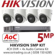 Hikvision 5MP CCTV System Balun Kit - 4CH DVR + 4x Audio Turret Cameras