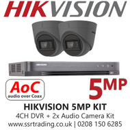 CCTV Camera Kit Hikvision 5MP Balun Kit - 4CH DVR + 2x Grey Audio Turret Cameras