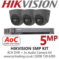 CCTV Camera Kit Hikvision 5MP Balun Kit - 4CH DVR + 3x Grey Audio Turret Cameras