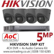 CCTV Camera Kit Hikvision 5MP Balun Kit - 4CH DVR + 4x Grey Audio Turret Cameras