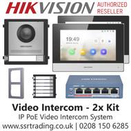 Hikvision Video Intercom Kit - Hikvision PoE Video Intercom System Kit for 2x Residents