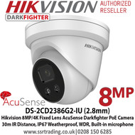 Hikvision 8MP 2.8mm Fixed Lens  AcuSense Darkfighter PoE Network TurretCamera, 30m IR Distance,IP67 Weatherproof,120dB WDR,Built in Microphone,Supports on board storage - DS-2CD2386G2-IU (2.8mm)