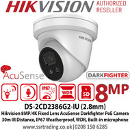 Hikvision DS-2CD2386G2-IU 8MP 2.8mm Fixed Lens  AcuSense Darkfighter PoE Network TurretCamera, 30m IR Distance,IP67 Weatherproof,120dB WDR,Built in Microphone,Supports on board storage