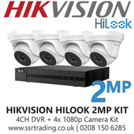 Hikvision HiLook 2MP CCTV Kit - 4 Channel DVR + 4x 40m IR Turret Cameras