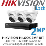Hikvision HiLook 2MP CCTV Kit - 4 Channel DVR + 3x 40m IR Turret Cameras