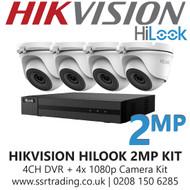 Hikvision HiLook 2MP CCTV Kit - 4 Channel DVR + 4x 20m IR Turret Cameras