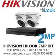 Hikvision HiLook 2MP CCTV Kit - 4 Channel DVR + 2x 20m IR Turret Cameras