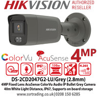 Hikvision 4MP 2.8mm Fixed Lens AcuSense ColorVu Bullet PoE Network Grey Camera with Audio, Up to 40m White light, H.265+ compression, IP67 weatherproof, Face Capture, Built in microphone, Supports on board storage - DS-2CD2047G2-LU /Grey (2.8mm)