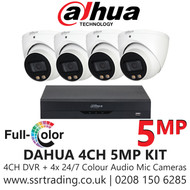 Dahua 5MP CCTV Security System Kit - 4CH DVR + 4x Colour Night Vision Built-in Mic Turret Cameras