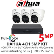 Dahua 5MP CCTV Security System Kit - 4CH DVR + 3x Colour Night Vision Built-in Mic Turret Cameras