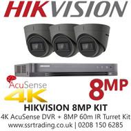 Hikvision CCTV System Kit - 8MP 4K Balun Kit - 8CH DVR + 3x  8MP Grey Turret Cameras