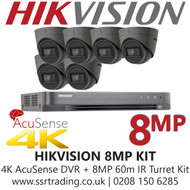 Hikvision CCTV System Kit - 8MP 4K Balun Kit - 8CH DVR + 6x  8MP Grey Turret Cameras
