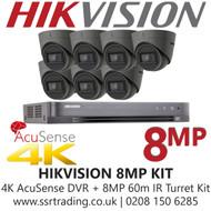 Hikvision CCTV System Kit - 8MP 4K Balun Kit - 8CH DVR + 7x  8MP Grey Turret Cameras
