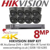 Hikvision CCTV System Kit - 8MP 4K Balun Kit - 8CH DVR + 8x  8MP Grey Turret Cameras