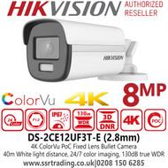 Hikvision DS-2CE12UF3T-E 4K 8MP ColorVu PoC 2.8mm Fixed Lens Bullet CCTV Camera, 24/7 color imaging