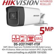 Hikvision 5MP 2.8mm Fixed Lens TVI/AHD/CVI/CVBS Bullet Camera - DS-2CE17H0T-IT3F(2.8mm)(C)