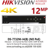 Hikvision 32 Channel 32Ch NVR 12MP 4 x SATA No PoE NVR - DS-7732NI-I4(B)
