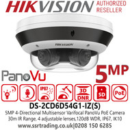 Hikvision DS-2CD6D54G1-IZ(S) 5MP 4-Directional Multisensor Varifocal PanoVu Network  Camera with Built-in microphone, 30m IR Range