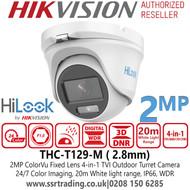 HiLook 2MP 24/7 Color imaging Outdoor TVI/AHD/CVI/CVBS Turret Camera with 20m White Light Range -THC-T129-M