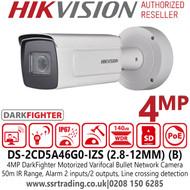 Hikvision 4MP DarkFighter Motorized Varifocal Lens Outdoor Bullet Network Camera with 50m IR Range - DS-2CD5A46G0-IZS (2.8-12mm) (B)