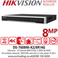Hikvision 8 Channel 8MP 8 PoE 2 SATA 8Ch 4G NVR - DS-7608NI-K2/8P/4G
