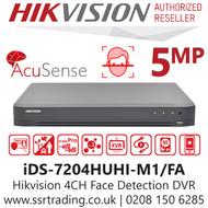 Hikvision 4 Channel 5MP AcuSense AoC (Audio via coaxial cable) Face Detection 4Ch DVR DS-7204HUHI-M1/FA