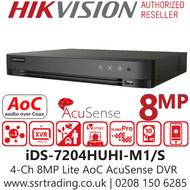 Hikvision 4 Channel 8MP Lite AcuSense AoC (Audio via coaxial cable) H.265 Compression 1 SATA 4Ch DVR iDS-7204HUHI-M1/S