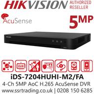 Hikvision 4 Channel 5MP AcuSense AoC (Audio via coaxial cable) H.265 Compression 2 SATA 4Ch DVR iDS-7204HUHI-M2/FA