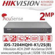 Hikvision 4 Channel 2MP AcuSense AoC (Audio via over coaxial cable) H.265 Compression 1 SATA 4Ch DVR iDS-7204HQHI-K1/2S(B)