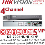 Hikvision 4 Channel 5MP PoC (Power over coaxial cable) H.265 Compression 1 SATA 4Ch DVR DS-7204HUHI-K1/P