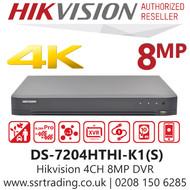Hikvision 4 Channel 8MP 4K HDMI AoC (Audio via coaxial cable) H.265 Compression 1 SATA 4Ch DVR DS-7204HTHI-K1(S)