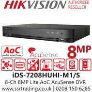 Hikvision 8 Channel 8MP Lite AcuSense AoC (Audio via coaxial cable) H.265 Compression 1 SATA 8Ch DVR iDS-7208HUHI-M1/S