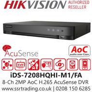Hikvision 8 Channel 2MP AcuSense AoC (Audio via coaxial cable) H.265 Compression 1 SATA 8Ch DVR iDS-7208HQHI-M1/FA