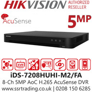 Hikvision 8 Channel 5MP AcuSense AoC (Audio via coaxial cable) 2 SATA H.265 Compression 8Ch DVR iDS-7208HUHI-M2/FA